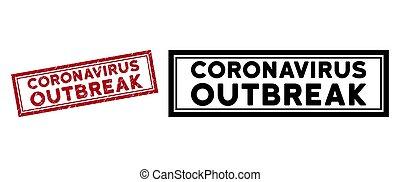 Grunge Coronavirus Outbreak Rectangle Frame Stamp