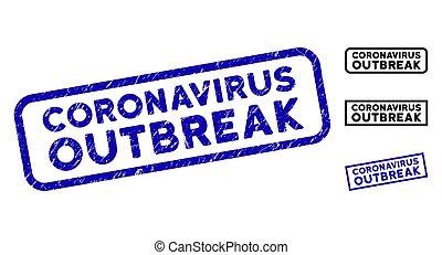 Grunge Coronavirus Outbreak Rectangular Stamp Seals