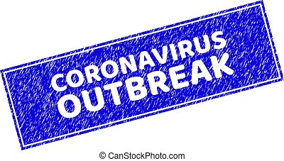 Grunge CORONAVIRUS OUTBREAK Scratched Rectangle Stamp Seal