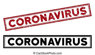 Grunge Coronavirus Rectangle Frame Stamp