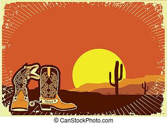 grunge, coucher soleil, sauvage, fond, cow-boy, boots., occidental