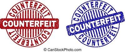 Grunge COUNTERFEIT Scratched Round Stamp Seals