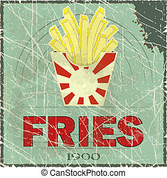 Grunge Cover for Fast Food Menu - fries on vintage...