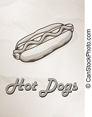 Grunge Cover for Fast Food Menu - hot dog on vintage background. Vector illustration.