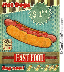 Grunge Cover for Fast Food Menu - hot dog on vintage...