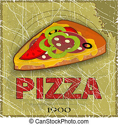 Grunge Cover for Pizza Menu - slice of pizza on vintage...