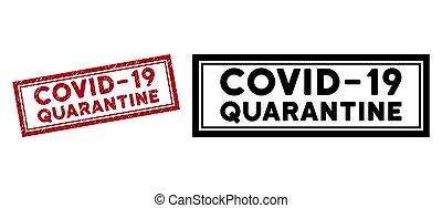 Grunge Covid-19 Quarantine Rectangle Frame Watermark