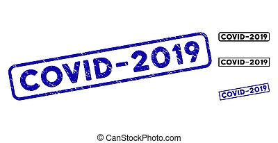 Grunge Covid-2019 Rectangle Watermarks