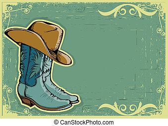 grunge, cowboy, tekst, beeld, laarzen, achtergrond, .vector