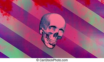 grunge, crâne, horreur, deux, pop, version, boucle
