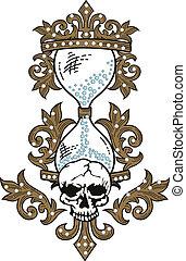 grunge, crâne, texture, rocher