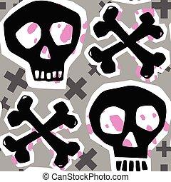 grunge, cranio, modello, seamless, impaurito, ruvido