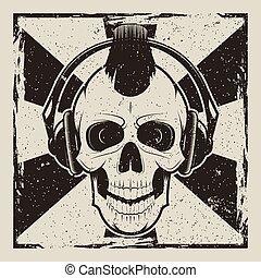grunge, cranio, vendemmia, punk, vettore, musica, disegno