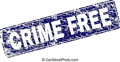 Grunge CRIME FREE Framed Rounded Rectangle Stamp