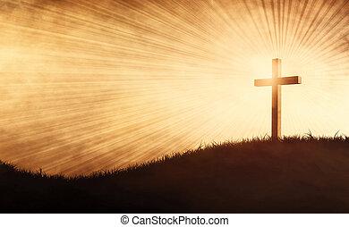 grunge, crucifixos, ligado, um, colina