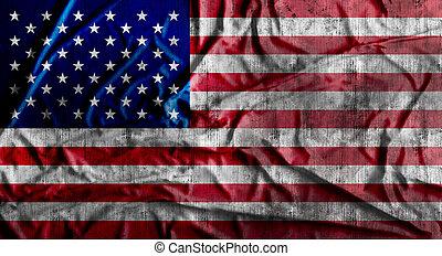 Grunge crumpled american flag. 3d rendering