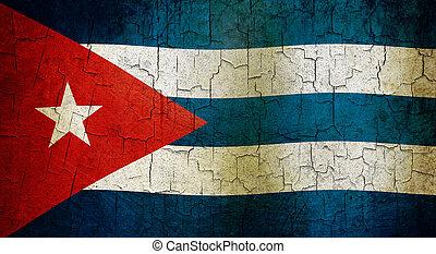 Cuban flag on a cracked grunge background