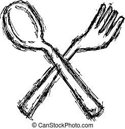 grunge, cuchara, y, tenedor