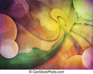 Grunge curvy background - Abstract grunge multicolor curvy...