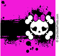 Grunge Cute Skull place card