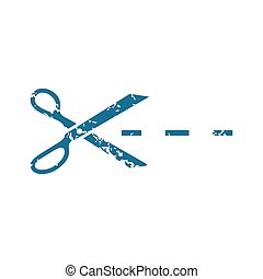 Grunge cutting scissors icon