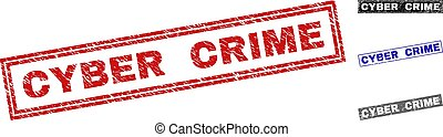 Grunge CYBER CRIME Textured Rectangle Stamp Seals