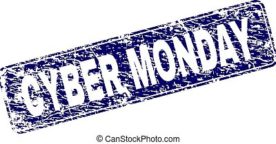 Grunge CYBER MONDAY Framed Rounded Rectangle Stamp