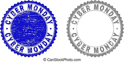Grunge CYBER MONDAY Scratched Watermarks
