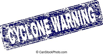 Grunge CYCLONE WARNING Framed Rounded Rectangle Stamp