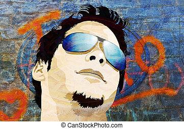 grunge, człowiek, z, sunglasses