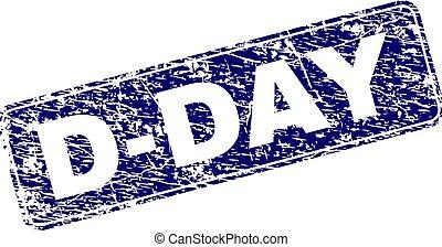 Grunge D-DAY Framed Rounded Rectangle Stamp - D-DAY stamp...