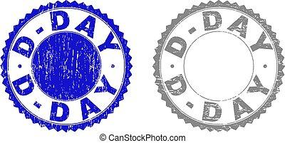 Grunge D-DAY Textured Stamps - Grunge D-DAY stamp seals...