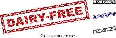 Grunge DAIRY-FREE Textured Rectangle Stamp Seals