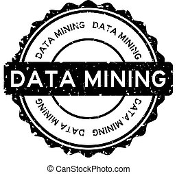 Grunge data mining word round rubber seal stamp on white background