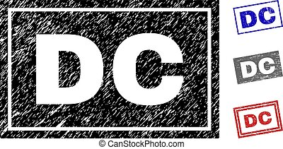 Grunge DC Scratched Rectangle Stamps