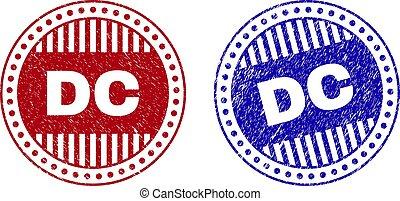 Grunge DC Scratched Round Stamps