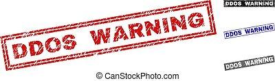 Grunge DDOS WARNING Scratched Rectangle Stamp Seals