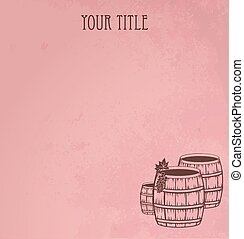 grunge, de madera, barriles, de, vino