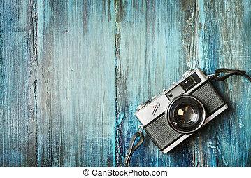 grunge, de madera, cámara fotográfica de la vendimia, plano de fondo, foto