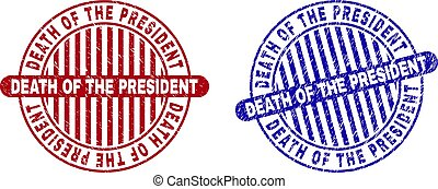 Grunge DEATH OF THE PRESIDENT Textured Round Stamps