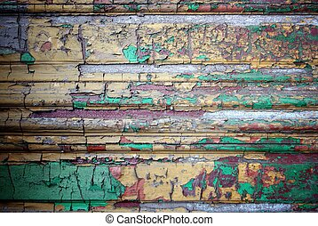 Grunge decorative wood texture with peeling paint