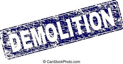 Grunge DEMOLITION Framed Rounded Rectangle Stamp