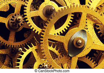 grunge, dent, industriel, science, engrenage, rouage horloge, arrière-plan., roues, technology.