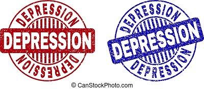 Grunge DEPRESSION Textured Round Stamp Seals