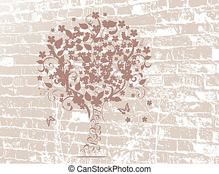 grunge, desenho, árvore