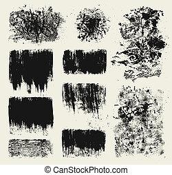 Grunge design elements - Set of grunge wood imprints and...