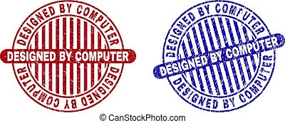 Grunge DESIGNED BY COMPUTER Textured Round Stamps