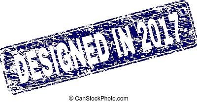 Grunge DESIGNED IN 2017 Framed Rounded Rectangle Stamp