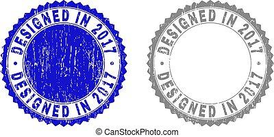Grunge DESIGNED IN 2017 Textured Stamp Seals