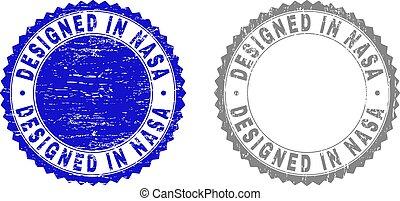 Grunge DESIGNED IN NASA Textured Stamps
